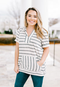 Multi Stripe V Neck Top | 2 color options