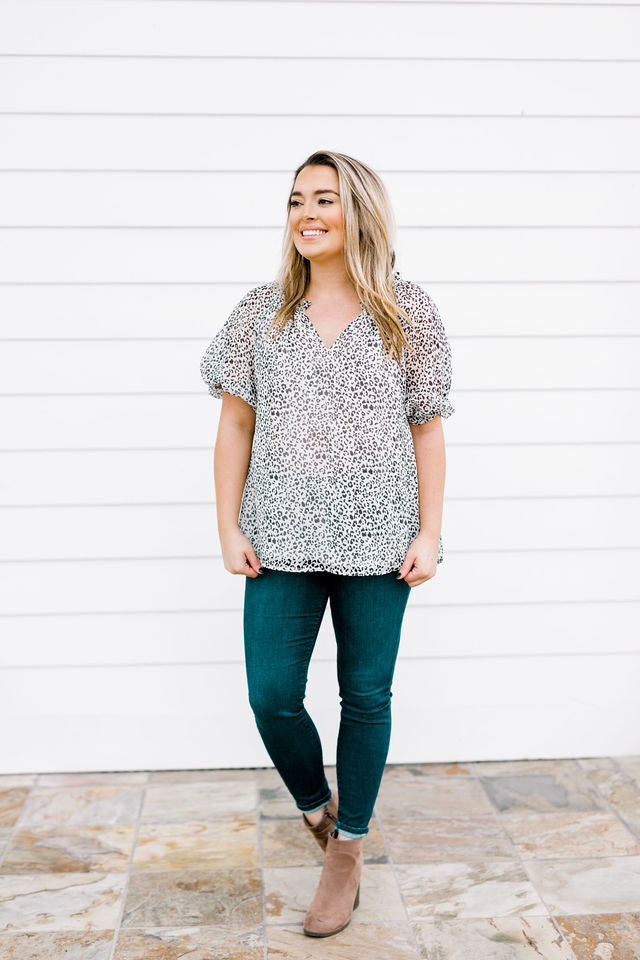 Leopard Twisted Sleeve Blouse