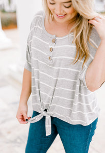 Striped Front Knot Top