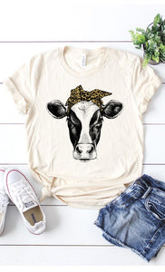 Cow with Leopard Headband T-Shirt