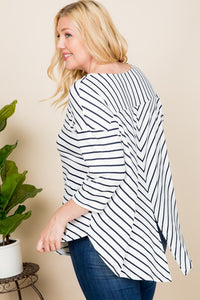 Striped Dolman Sleeve Top | Curvy