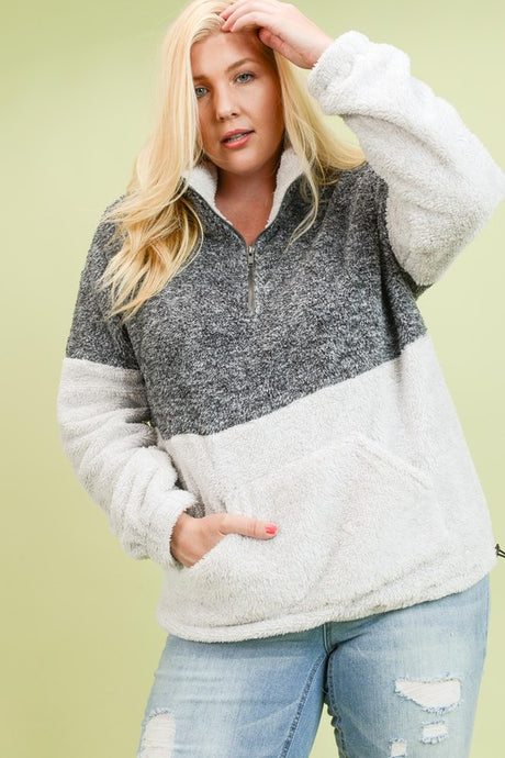 Fuzzy Pullover Sweater | Curvy