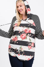Load image into Gallery viewer, Floral Stripe Pullover | Curvy