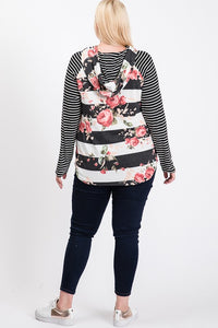 Floral Stripe Pullover | Curvy