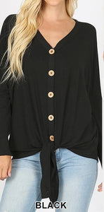 Button-Down Long Sleeve Top | Curvy ( 3 color options)