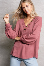 Load image into Gallery viewer, Waffle Knit Top with Button Detail | 2 Color Options