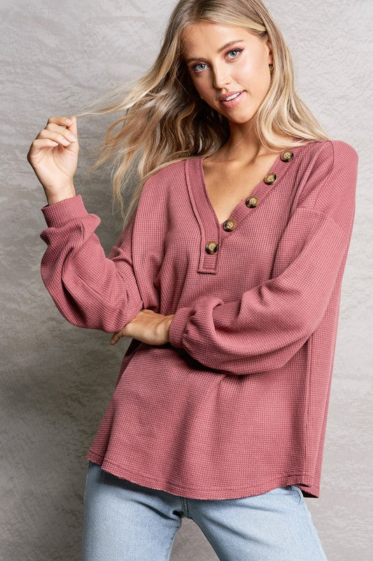 Waffle Knit Top with Button Detail | 2 Color Options