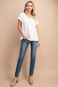 Classic Woven V Neck Top