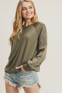 Satin Bomber Sleeve Sweater