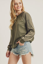 Load image into Gallery viewer, Satin Bomber Sleeve Sweater