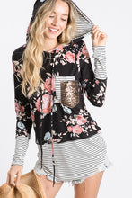 Load image into Gallery viewer, Floral Striped Hoodie