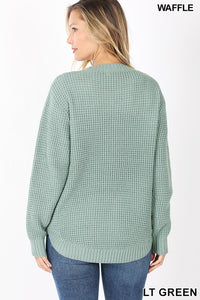 Round Neck Waffle Sweater | 2 color options