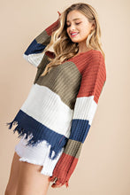 Load image into Gallery viewer, Distressed Stripe Color Block Sweater