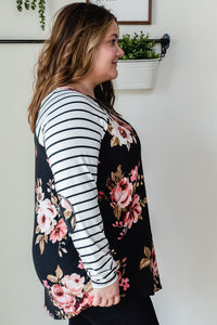 Floral & Stripe Top with Elbow Patch | Curvy Size