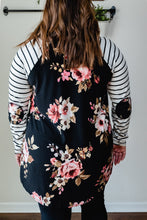 Load image into Gallery viewer, Floral & Stripe Top with Elbow Patch | Curvy Size