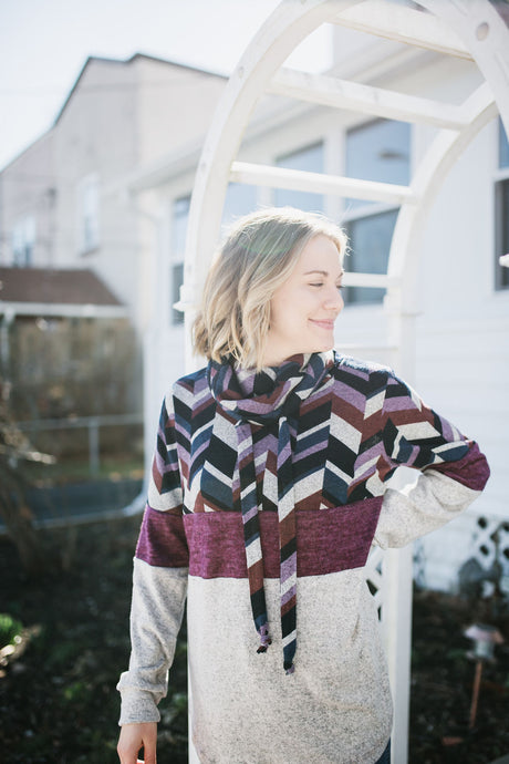 Chevron Print Cowl Neck Top