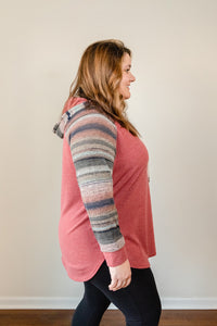 Ombre Striped Hoodie | Curvy