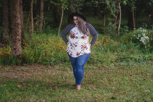 Floral Top with Elbow Patches | Curvy