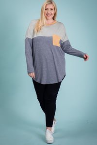Navy Reborn Tunic with Pocket | Curvy