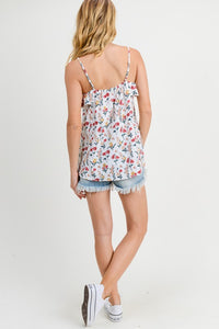 Ruffled Floral Tank with Split Front
