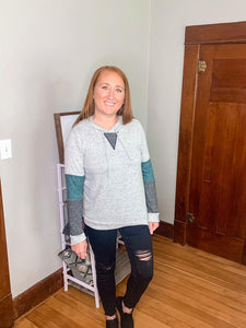Grey Color-Block Pullover