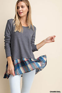 Plaid Knit Top | Charcoal