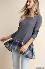 Load image into Gallery viewer, Plaid Knit Top | Charcoal