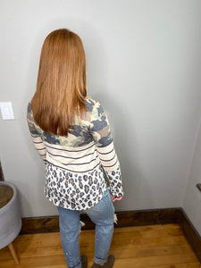 Multi-Pattern Long Sleeve Top
