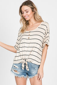 Oatmeal Front Knot Top
