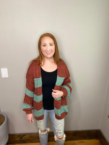Rust Balloon Sleeve Cardigan
