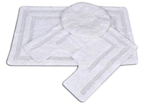 Queenzliving 3 Piece Bath Rug Set Race Track Pattern Bathroom Rug (White)