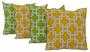 "Queenzliving Ultra Luxury Cotton Throw Pillow Cushion Covers 18"" x 18"" - Maize Design - Set of 4 in 2 Colors"