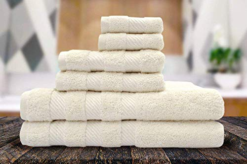 Queenzliving Elite 6 Piece Luxury Bathroom Towel Gift Set - 650 GSM Supreme Soft 100% Cotton Ultra Absorbent Quick Drying Bath Towel Set (2 Bath Towels, 2 Hand Towels and 2 Washcloths) (Ivory, 6)