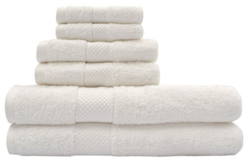TreeWool, 6 Piece Luxury Bathroom Towel Set (Ivory) 600 GSM Supreme Soft 100% Cotton Ultra Absorbent Quick Drying Hotel Quality Bath Towels Set (2 Bath Towels, 2 Hand Towels and 2 Washcloths)