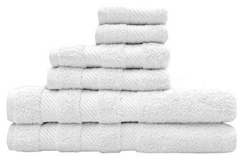TreeWool, Premium 6-Piece Bathroom Towel Set (2 Bath Towels, 2 Hand Towels and 2 Washcloths) 550 GSM Supreme Soft Ultra Absorbent 100% Cotton (White)