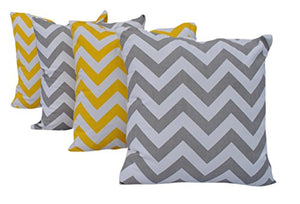 "Queenzliving Ultra Luxury Cotton Throw Pillow Cushion Covers 18"" x 18"" - NO FILLERS - Set of 4 in 2 Colors (Chevron Design)"
