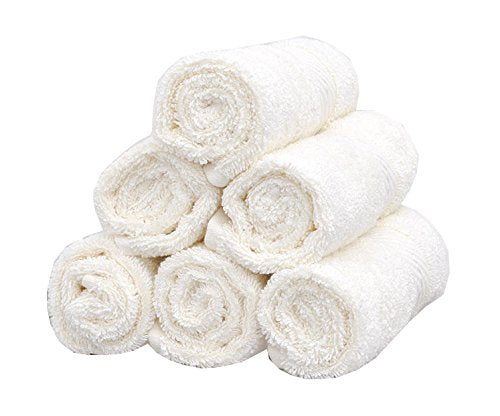 TreeWool, (6 Pack Supreme Soft Quick Drying Fingertip Towels, Facial Towelettes, Washcloths, Face Cloth, Exfoliating Flannels 100% Cotton Hand Towels Generously Sized (Ivory)