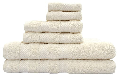 TreeWool, Premium 6-Piece Bathroom Towel Set (2 Bath Towels, 2 Hand Towels and 2 Washcloths) 550 GSM Supreme Soft Ultra Absorbent 100% Cotton (Ivory)