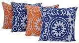 Queenzliving Ultra Luxury Cotton Throw Pillow Cushion Covers - Set of 4 (Suzani Design)