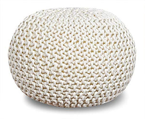 Cotton Hand Knitted Twisted Cable Style Dori Pouf