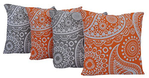 "Queenzliving Ultra Luxury Cotton Throw Pillow Cushion Covers 18"" x 18"" - NO FILLERS - Set of 4 in 2 Colors (Paisley Design)"