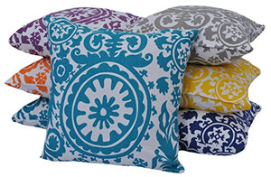 "Queenzliving Ultra Luxury Cotton Throw Pillow Cushion Covers 18"" x 18"" - Suzani Design - Set of 4 in 2 Colors"