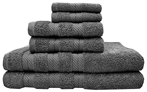 TreeWool, Premium 6-Piece Bathroom Towel Set (2 Bath Towels, 2 Hand Towels and 2 Washcloths) 550 GSM Supreme Soft Ultra Absorbent 100% Cotton (Dark Grey)