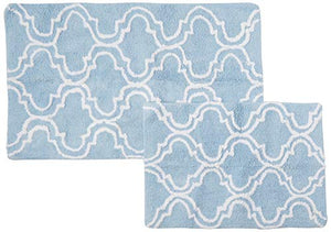 "TrendSetter Homez 100% Cotton Tufted Bath Rugs & Mat in Trellis Design, 21"" L x 34"" W, Blue & White, 2 Piece"