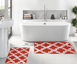 "Queenzliving Set of 2 Bath Rugs - 100% Cotton 17"" x 24"" Trellis Design Bathmat"