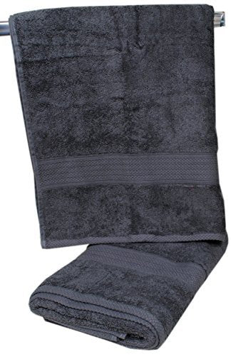 TrendSetter Homez Sale 10% Off Set of 2 Large Size Bath Towel 100% Ringspun Combed Cotton Super Soft Highly Absorbent Accent Border Machine Wash Luxury Bath Linen Gloria Collections Grey-Green