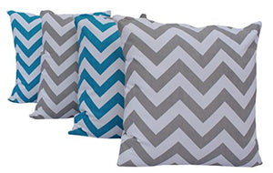 "Queenzliving Ultra Luxury Cotton Throw Pillow Cushion Covers 18"" x 18"" - NO FILLERS - Chevron - Set of 4 in 2 Colors"