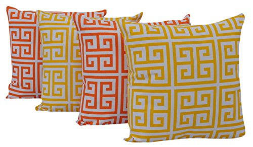 Queenzliving Ultra Luxury Cotton Throw Pillow Cushion Covers - Set of 4 (Greek Design)