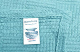 Queenzliving All Season Cotton Throw Blanket Ultra Cozy Light Weight Breathable Woven Cotton Thermal Blanket Bedspread Quilt for Bed & Couch/Sofa Geometric Check Design King 90 x 108 Inches Light Blu