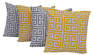 "Queenzliving Ultra Luxury Cotton Throw Pillow Cushion Covers 18"" x 18"" - NO FILLERS - Set of 4 in 2 Colors (Greek Design)"